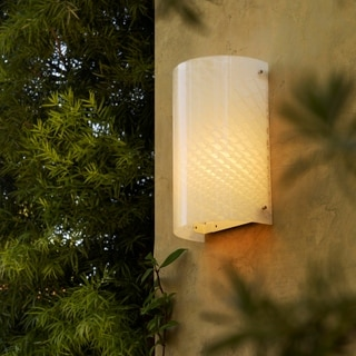 Justice Design Group Fusion-Finials Chrome Outdoor Wall Sconce, Weave Shade