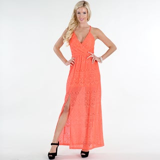 Nikibiki Women's Orange Nylon/Spandex Lace Front-slit Maxi Dress