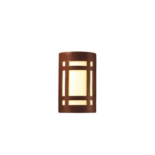 Justice Design Group Ambiance Hammered Copper Outdoor Large Craftsman Window Wall Sconce