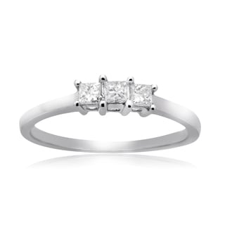 14k White gold 1/4ct TDW Diamond 3-stone Princess-cut Anniversary Ring