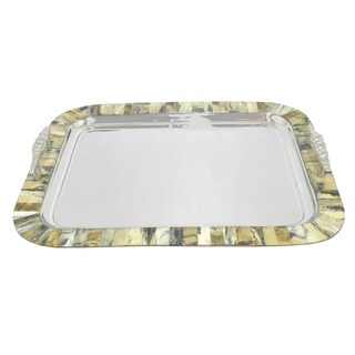 Three Hands Stainless Steel Tray With Marble-print Border
