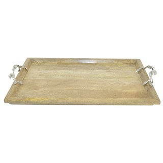 Three Hands Wood Tray With Nickel-plated Handles