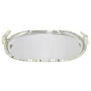 Three Hands Stainless Steel Serving Tray with Marble Tile Border and Horn Shaped Handles