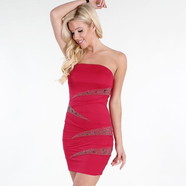 5233f8637f504 Shop Nikibiki Women's Fuchsia Beaded Tube Dress - Free Shipping ...