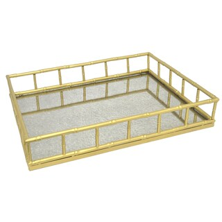 Three Hands 95272 Gold Metal Mirrored Tray