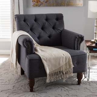 Baxton Studio Klytie Modern Grey Tufted Armchair