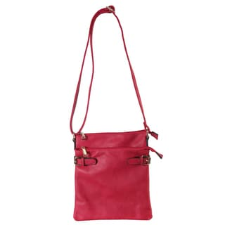 Diophy Crossbody Handbag with Front Pocket and Buckle Accents