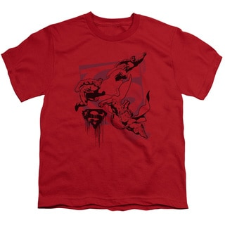 Superman/Omnipresent Short Sleeve Youth 18/1 in Red