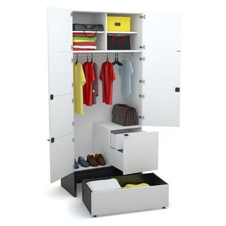 Voelkel Young Users Collection White Wood 2-door Wardobe with 1 Drawer and Platform