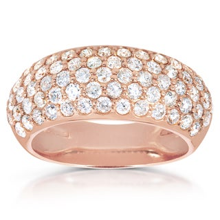 Annello by Kobelli 14k Rose Gold 1 1/4ct TDW Pave Diamond Domed Band (G-H, I1-I2)
