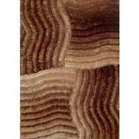 Golden Brown 3-dimensional Contemporary Shaggy Gradient Ripple Area Rugs - 8' x 10'