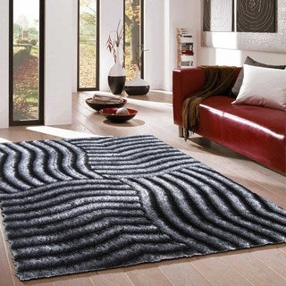 Captivating 3D Grey and Black Polyester Modern Shag Area Rug (8'x10')