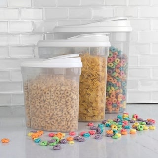 Home Basics Clear and White Plastic Dry Food Container Set With Easy-pour Lids (3-piece Set)
