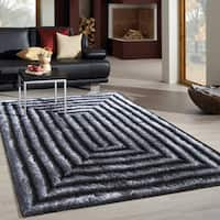 3-dimensional Gradient Waves of Grey Polyester Shag Area Rug - 8' x 10'