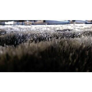 Grey Gradient Waves Modern Shaggy 3-dimensional Area Rug (8' x 10') - 8' x 10'