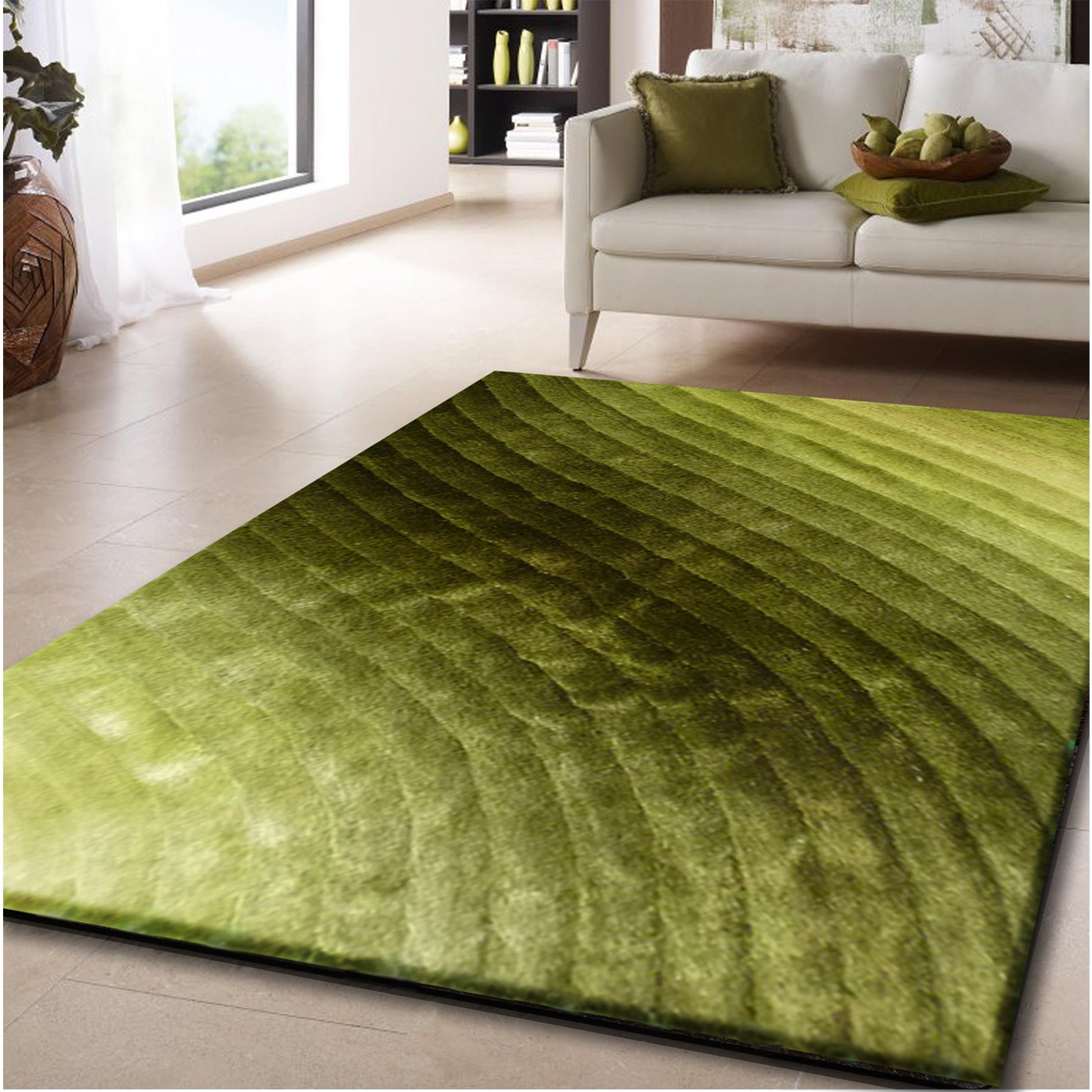 Gradient Waves of Green 3-dimensional Shag Area Rug (8' x...