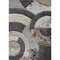 Shaggy Viscose Collection Earth 27 Beige/Brown/Silver/Grey Polyester Hand-tufted Area Rug - 5' x 7'