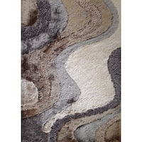 Beige/Brown/Silver/Grey Polyester Hand-tufted Area Rug - 5' x 7'