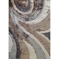Beige/Brown/Silver/Grey Polyester Hand-tufted Area Rug (5' x 7') - 5' x 7'