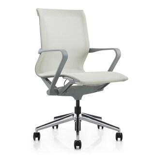 M1 Executive Grey and White Mesh Mid-back Office Chair
