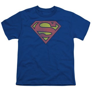 DC/Retro Supes Logo Distressed Short Sleeve Youth 18/1 in Royal