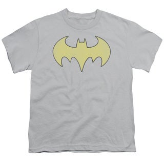 DC/Batgirl Logo Distressed Short Sleeve Youth 18/1 in Silver