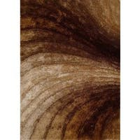 3D Shag Collection Gradient Waves Golden Brown Polyester Shag Area Rug - 8' x 10'