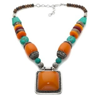 Orange Resin Stone 'Vintage' Drop Necklace (India)