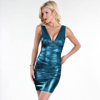 NikiBiki Women's Teal Blue Wet-look Pintucked Deep V Dress|https://ak1.ostkcdn.com/images/products/12807557/P19576996.jpg?impolicy=medium