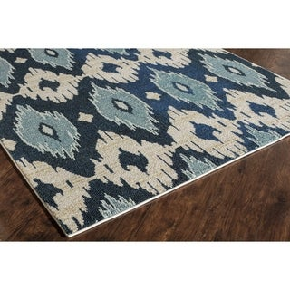 Blue/Ivory Polypropylene Power-loomed Abstract Rug