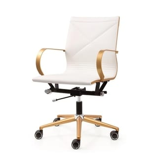 M365 Gold/White Vegan Leather Office Chair