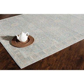 Woven Accents Morgan Collection Light Blue Parker Polypropylene Power-loomed Rug (60 x 96)