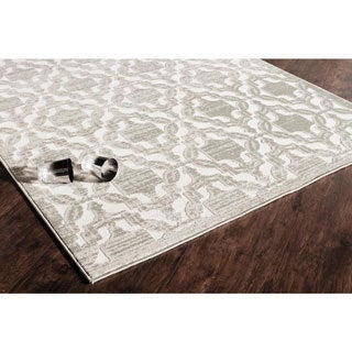 Woven Accents Riley Collection Sebastian Ivory/Blue/Tan/Grey Polypropylene Power-loomed Area Rug (5' x 8')