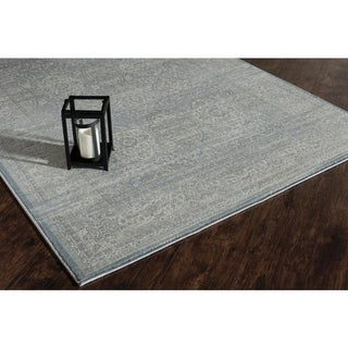 Scarlette Collection Darcy Blue/Grey Polypropylene Power-loomed Rug (5' x 8')