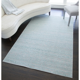 Woven Accents Westford Collection Charlotte Blue/Grey Polyester Power-loomed Area Rug (5' x 8')