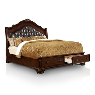 Furniture of America Mikaela Traditional Brown Cherry Tufted Leatherette Storage Bed