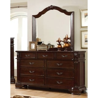 Furniture of America Mikaela Traditional 2-Piece Brown Cherry Dresser and Mirror Set
