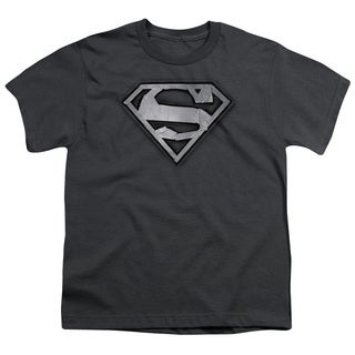 Superman/Duct Tape Shield Short Sleeve Youth 18/1 in Charcoal