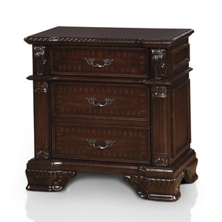 Furniture of America Mikaela Traditional Brown Cherry 3-drawer Nightstand