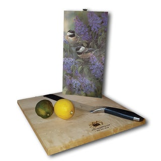 WGI Gallery Chickadees & Lilac Wood Cutting Board (2 options available)