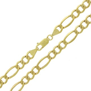 10k Yellow Gold 7mm Hollow Figaro Link Chain Necklace