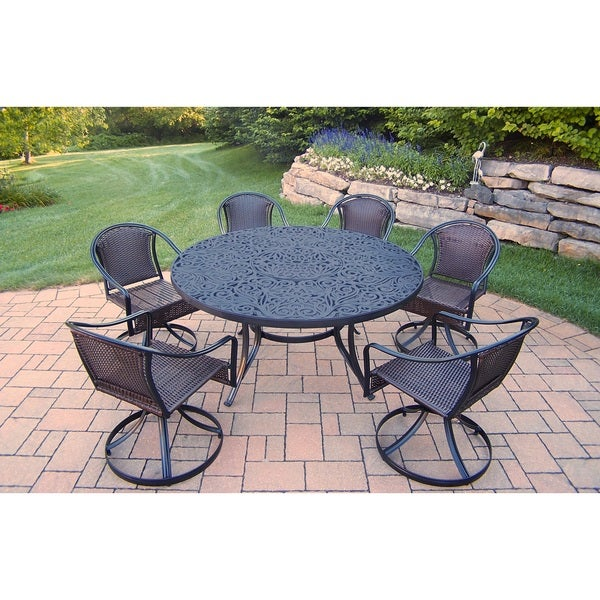 7 Piece Round Dining Table Set: Aluminum 7-piece Interchangeable Round Table And Resin