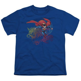 Superman/Cool Word Supes Short Sleeve Youth 18/1 in Royal
