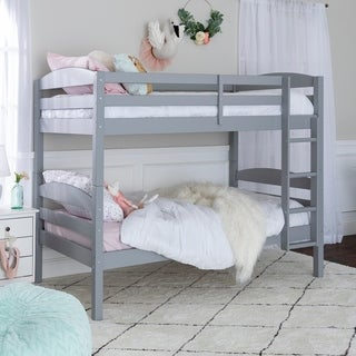 Solid Wood Grey Twin over Twin Bunk Bed