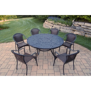 Black Aluminum Round Table and Woven Chair 7-piece Dining Set