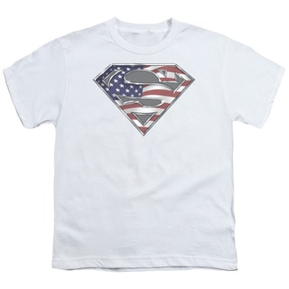 Superman/All American Shield Short Sleeve Youth 18/1 in White
