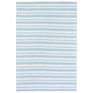 Littles Blue & Ivory Stripe Microfiber Rug (8'0 x 10'0)