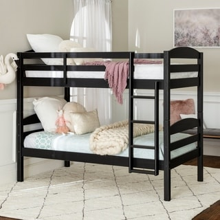 Twin over Twin Solid Wood Bunk Bed - Black