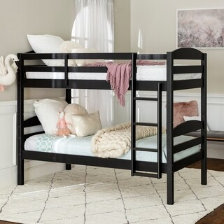 Solid Wood Black Twin over Twin Bunk Bed