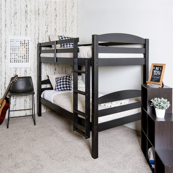 Shop Solid Wood Black Twin Over Twin Bunk Bed On Sale Free
